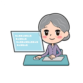Grandma sitting in front of pc screen