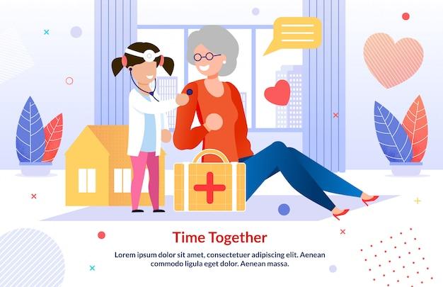 Grandma with grandchild play doctor flat template