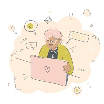 ラップトップを持つおばあちゃん手描き落書きイラスト自宅でコンピューターで作業しているかわいい老婆