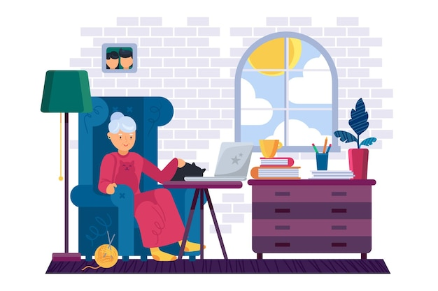 Бабушка работает на портативном устройстве дома плоской иллюстрации шаржа