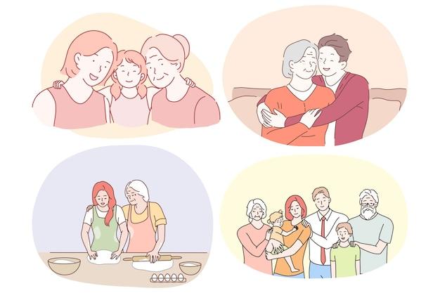 할머니와 손자, 조부모 개념을 가진 행복 한 가족. 행복 하 게 웃는 조부모