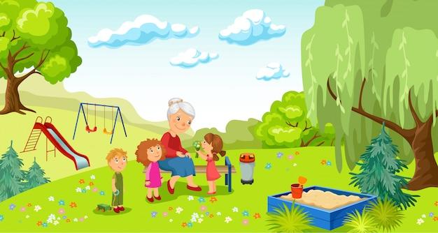 Бабушка и внуки в парке.