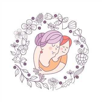 꽃 프레임에 할머니와 손녀입니다.
