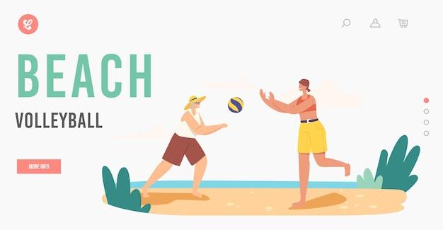 Бабушка и внучка, играющие в пляжный волейбол, шаблон целевой страницы. счастливая семья, летние каникулы. персонажи игры на открытом воздухе и отдыха в океане. мультфильм люди векторные иллюстрации