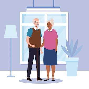 홈 룸 벡터 디자인에 할머니와 할아버지 아바타