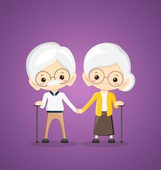 祖母と祖父が手をつないで