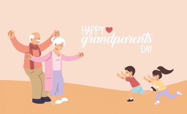Бабушка и дедушка с внуками счастливого бабушек и дедушек, старуха и мужчина