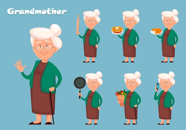 Grandmother cartoon character, set of seven poses