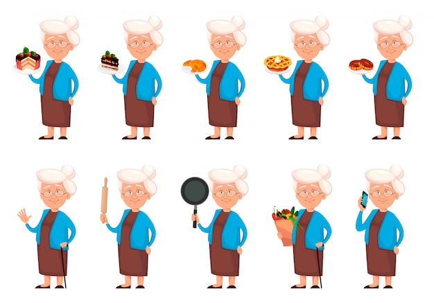 Grandmother cartoon character, set of ten poses