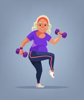 Персонаж бабушки делает упражнения плоской карикатурной иллюстрацией