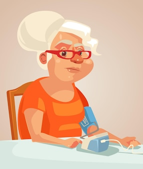 Grandmother character measuring blood pressure