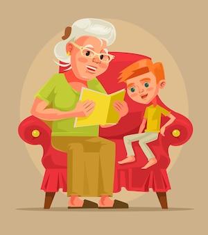 할머니 캐릭터가 손자와 함께 앉아 책 이야기를 읽습니다.