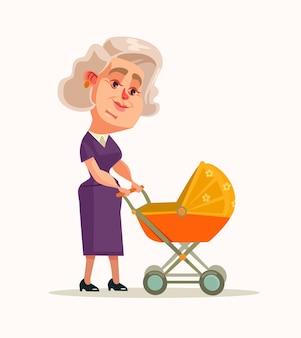 新生児と一緒に歩く祖母のキャラクター
