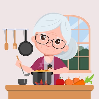 Grandmother cooking in the kitchen cartoon