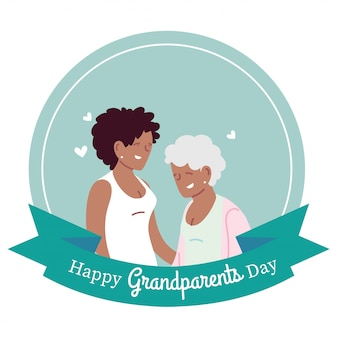 Grandmother and daughter design, happy grandparents day