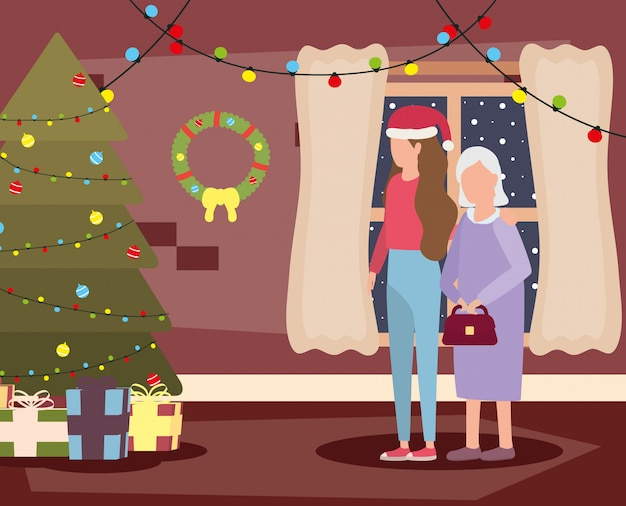 Grandmother and daughter in living room with christmas decoration