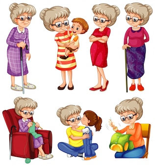 Grandmother doing different things on white background