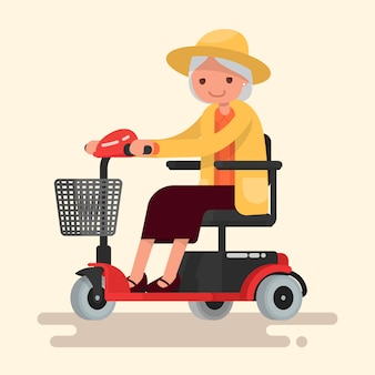 Grandmother, an elderly woman in hat rides on an electric wheelchair.  illustration in a flat style