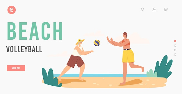 Grandmother and granddaughter playing beach volleyball landing page template. happy family summer vacation leisure. characters outdoor game and recreation at ocean. cartoon people vector illustration