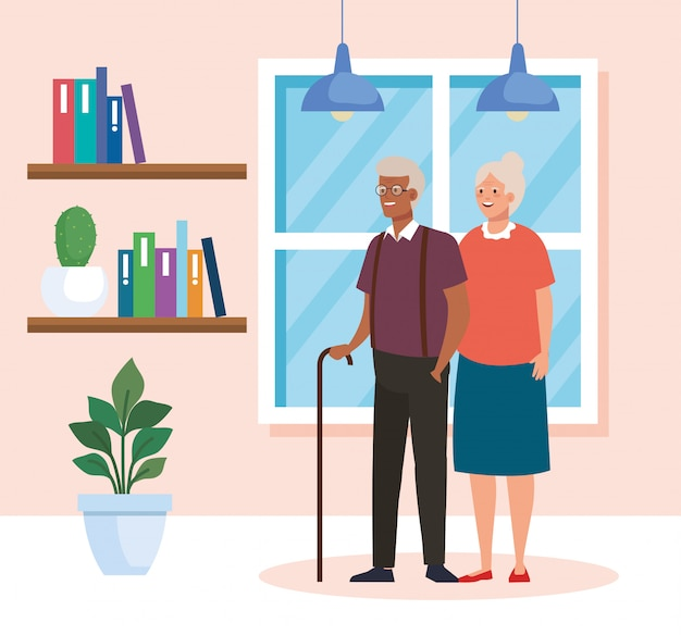 Grandmother and grandfather avatar in home room vector design Premium Vector