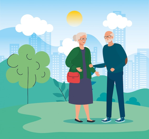 Grandmother and grandfather avatar at park vector design