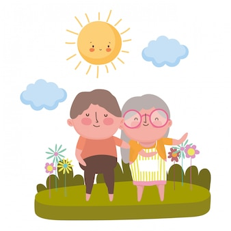 Grandmother and grandfather cartoon character
