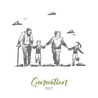 할머니, 할아버지, 손자, 가족, 세대 개념. 손으로 그린 할머니와 할아버지 개념 스케치와 함께 행복 한 큰 가족.
