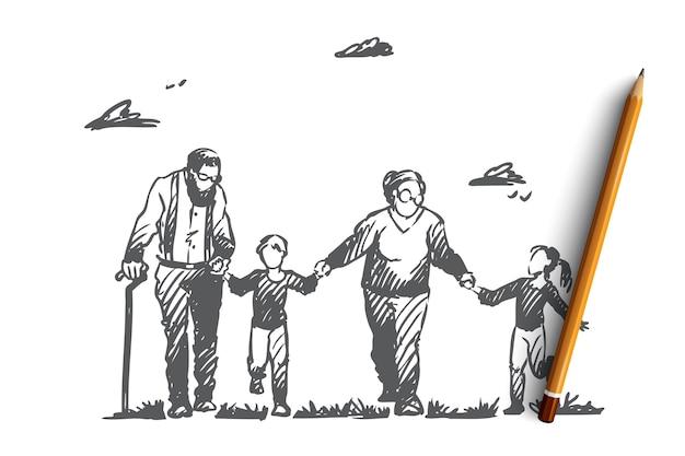 祖母、祖父、孫、家族、世代の概念。祖母と祖父のコンセプトスケッチと手描きの幸せな大家族。