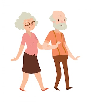 Grandmother and grandfather in modern flat design .