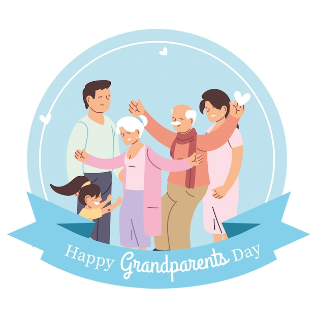Бабушка дедушка родители и внучка дизайн, счастливый день бабушки и дедушки