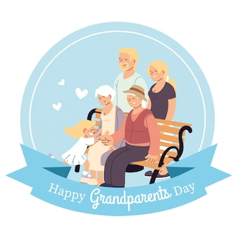 Grandmother grandfather parents and granddaughter on bench design, happy grandparents day