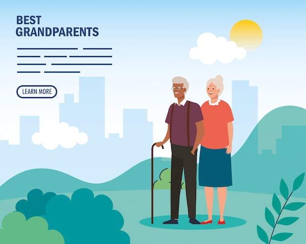 Grandmother and grandfather at park on beat grandparents vector design
