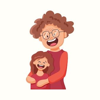 Бабушка обнимает внучку. векторная иллюстрация в плоском стиле