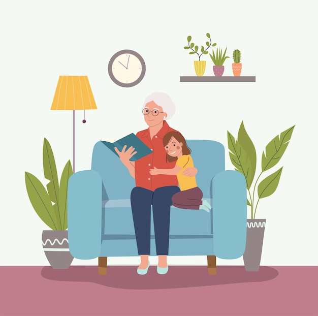 Grandmother is reading a book to her granddaughtervector flat cartoon style illustration