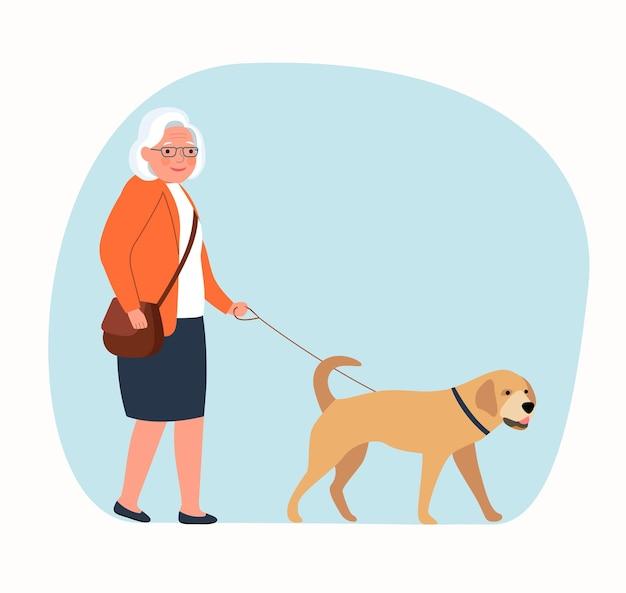 강아지와 함께 산책하는 할머니