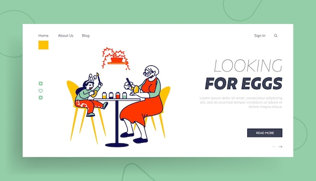Grandmother and little girl painting eggs landing page template.