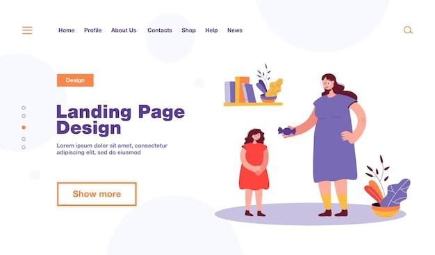 Бабушка-мать дает конфеты дочери. женский мультипликационный персонаж награждает ребенка плоской иллюстрацией сладостей. семейная концепция, дизайн веб-сайта или целевая веб-страница