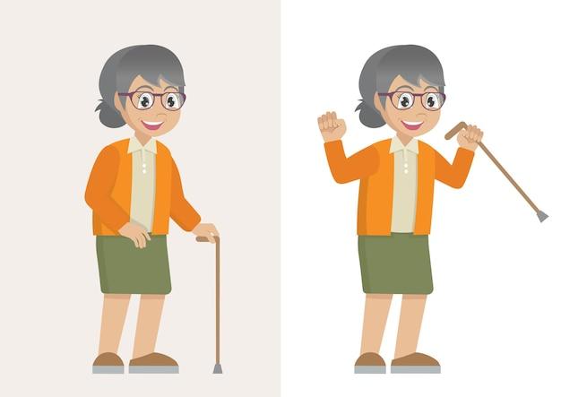 지팡이를 짚고 걷는 할머니