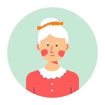 円の祖母の肖像画、老後の孤立した女性キャラクター。白髪と髪型のシニア女性、しわのある顔。シンプルな服を着たおばあちゃん、人物のアバター、ベクトル