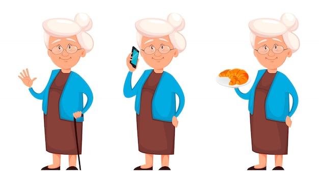 祖母、3つのポーズのセット