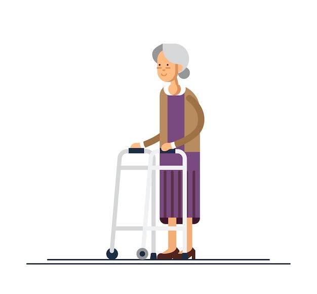 歩行器を持って歩く祖母。フラットスタイルのイラスト