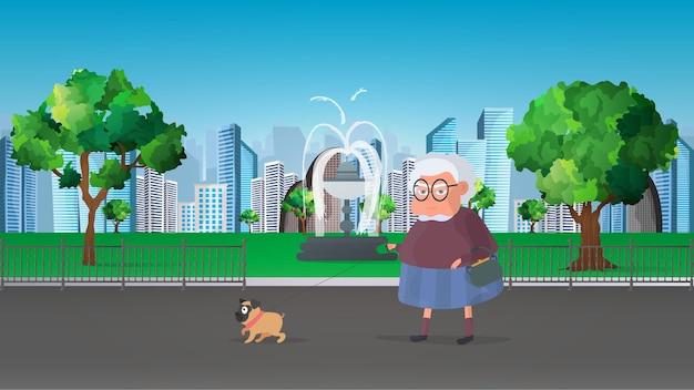 할머니는 작은 강아지와 함께 공원에서 산책합니다. 플랫 스타일 그림.