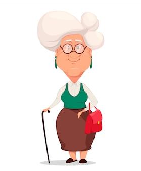 Grandmother wearing eyeglasses.