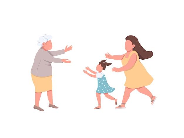 Бабушка приветствует родственников плоскими цветными безликими персонажами. мать с дочерью навещают бабушку. счастливое воссоединение семьи изолированных иллюстрация шаржа для веб-графического дизайна и анимации