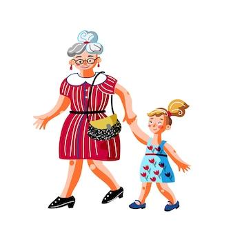 아이 캐릭터와 할머니 손을 잡고 어린 소녀와 나이든 여자 프리미엄 벡터