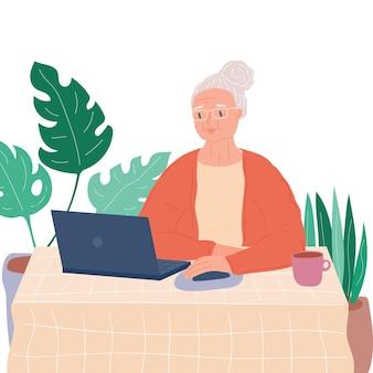 컴퓨터와 할머니 컴퓨터 온라인 현대 퇴직자 주식 벡터와 수석 성인