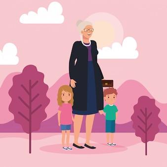Бабушка с внуками в пейзажной сцене