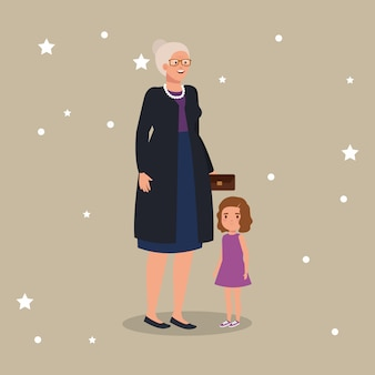 Grandmother with granddaughter avatar character