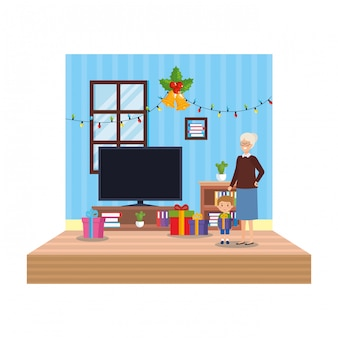 Grandmother with grandson in living room