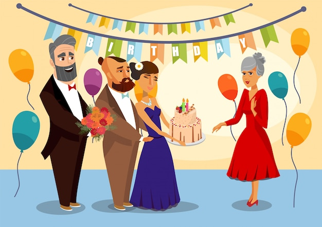 Grandmother's birthday party vector illustration.